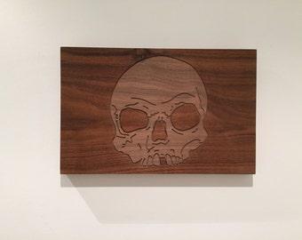 carved walnut skull