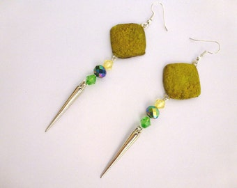 Yellow polymer clay dangle earrings pattern stone with blue violet Austrian crystal beads, yellow & green bulk crystal beads and spike beads