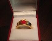 Lynda Carter Wonder Woman Tiara Ring 18 K Gold Over Stainless Steel  Size 8