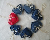 Denim Shabby Chic Hearts Rustic Home decor set of 7 Valentine's Day ornament Nursery garland Wedding party decor