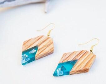 Wood earrings, Turquoise earrings, Resin earrings, gift for women, Wood jewelry, resin jewelry, birthday gift, gift under 20, womens gift