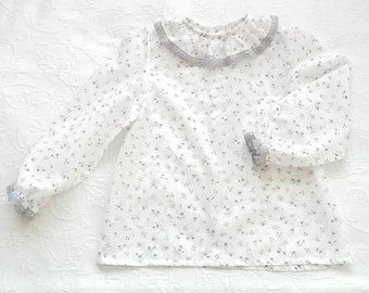 White cotton shirt with violet flowers and grey cotton lace