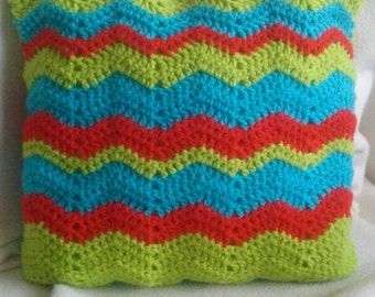 Crochet cushion/pillow. Handmade,bright and available with or without a cushion inner.