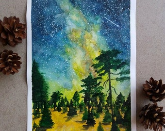 Galaxy forest original watercolor painting