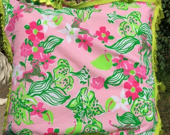 Large Lilly Pulitzer print throw pillow in Tiger Lily pattern
