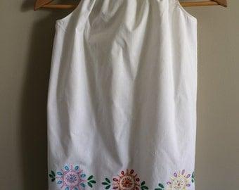 Girls pretty handmade embroidered pillowcase dress