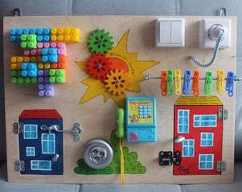 "Busy Board ""mini busy"", Activity Board, Sensory Board, Montessori educational Toy, Fine motor skills board for toddlers & babies"