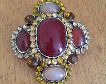 Brooch with rhinestones