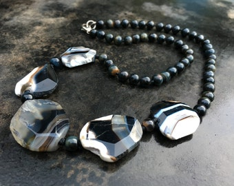 Necklace of banded agate and black tiger eye beads. Pretty stones! Signed LUC 925