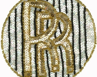 """4 3/4"""" Circle Rolls Royce Beaded & Sequin Car Emblem Applique Sewing and Craft Supplies w/ Free Shipping"""