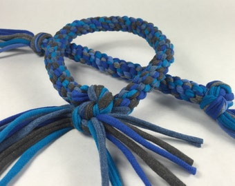 Stormy Sky Mix Braided Rope Ring Dog Toy made from Upcycled T-shirts
