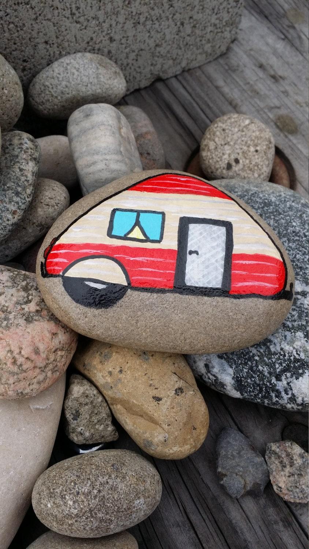 Travel Trailer Vintage Campers Hand Painted River Rocks