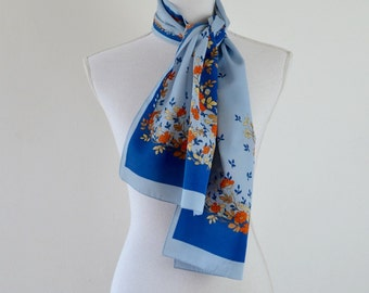 1950s Floral Scarf  |   Vintage 50s Scarf  |  Blue and Orange Floral Scarf