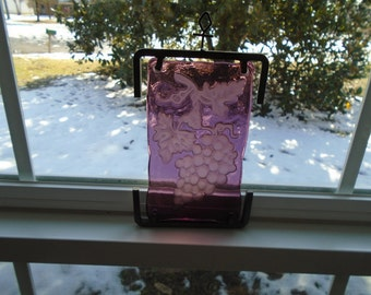 Purple Etched-Glass Sun Catcher Hanger