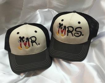 Mr and Mrs Disney cap,Mickey caps,Mickey apparel,Mr and Mrs baseball caps,caps,Mr and Mrs cap,Personalized Wedding Gift,Honeymoon Cap