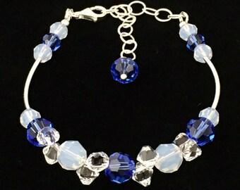 Ocean Dreams Sterling Silver Bracelet, Swarovski Crystal Bracelet , blue Crystal Bracelet