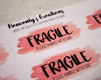 Fragile Please Handle With Care - Sticker Sheet, Custom Stickers, Packaging Sticker