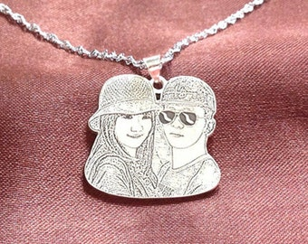 Custom Portrait Necklace, Personalized Necklace, Silver Pendant, Engraved Photo Necklace, Lovers Gift, Valentine's Gift