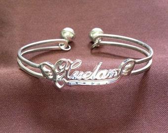 Baby Name Bracelet Silver, Any Name Bracelet, Personalized Name Bracelet with Bell, Personalized Letter Bracelet,Initial Bracelet