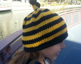 Knitted Bee Hat, Beanie, Fun Hats, Baby Hat, Adult Hat, Bumble Bee,