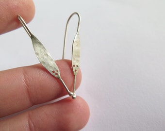 silver nugget earrings, flat earrings, Delicate Silver Earrings, Hammered Silver Earrings, long post earrings