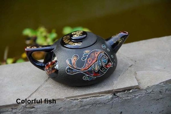 Handmade teapot Ceramic teapot Fish Glazed teapot Ceramic pottery Gift for lover tea Clay teapot Wife gift Parents gift Pottery handmade
