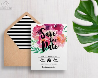 Save The Date Watercolor Flowers Printable / Floral Invitation / Bright Flowers / Wedding Suite / Bridal Shower / Birthday / Party / Eva