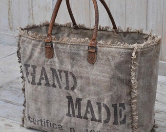 Handmade Repurposed Military Tent Canvas & Leather Market Tote Bag Certifa