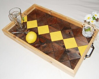 Breakfast Tray, Ottoman Tray, Wood yellow tray, Rustic tray, Southwestern decor, Reclaimed wood tray, Geometric wood tray,, Reclaimed Tray