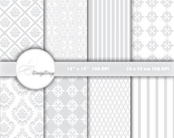 Grey DAMASK digital paper, Wedding digital paper pack Grey damask Digital Paper Wedding, Wedding patterns, Scrapbook Damask #390