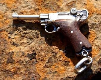 Silver pendant the Gun Pistol Parabellum Silver gun Talisman for men Men's amulet Sterling silver