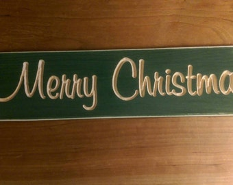 Merry Christmas sign in green