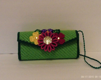 Green Flowered Clutch in plastic canvas