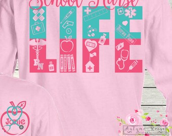 School Nurse Life Monogrammed Nursing Shirt Great Gift Idea Customized Personalized School Colors