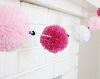 Yarn Pom Pom Garland - Pink and White Yarn Pom Pom Garland - Birthday Party Garland- Pink Garland - White Garland - Polka Dot Garland