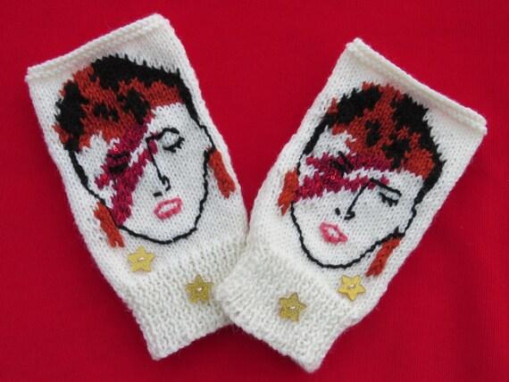 Knitting Pattern David Bowie Ziggy Stardust Aladdin Sane Wrist Warmers, Knit,...