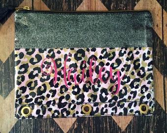 Monogrammed Leopard Pencil Pouch