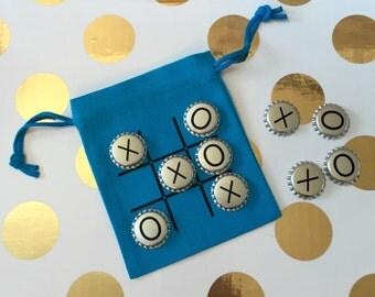 Tic Tac Toe Travel Game for Kids in burlap bag
