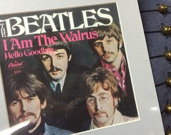 I am the Walrus, Hello Goodbye, Beatles,  45 record cover,  art, matted, framed, 1967.  FREE SHIPPING