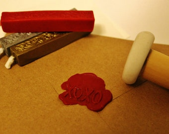 personalized | wax seal stamp with wooden handle, blank stationary, wax stick + baker's twine (gift set)