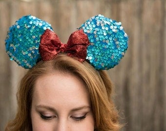 Blue Sequin Mickey Minnie Mouse Ears with Red bow
