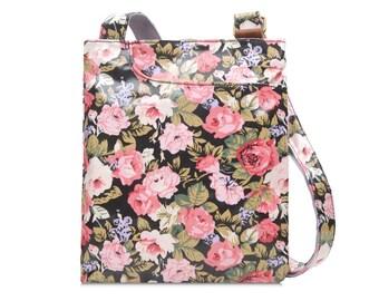 Oilcloth Crossbody bag - Pink Rose - Ladies Purse - Ladies Handbag - Shabby Chic Satchel - Oilcloth bag - Oil cloth bag - Laminated cotton