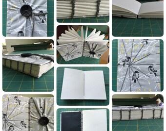 Custom Fabric, Coptic Stitch, blank Notebook/Sketchbook/Journal