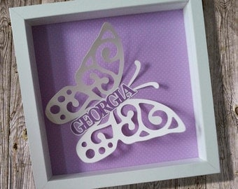 Personalised butterfly framed papercut name picture (angled)