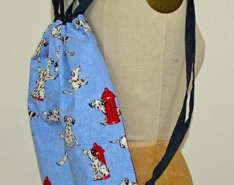 Dalmation Cinch Bag, Blue and Red