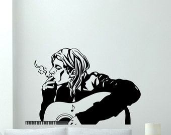 Kurt Cobain Decal Nirvana Vinyl Sticker Grunge Alternative Rock Music Living Room Wall Art Decor Mural Interior Design Graphics 19sss