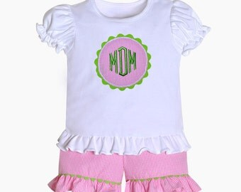 Raspberry Flower Pink short set with monogram option