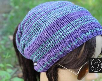 Dread Slouchy, dread wrap, Dreadmütze violet meergrün Rasta hat, striped cotton