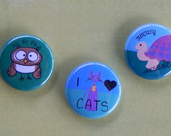 Cute animals button set