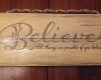 Believe pallet art